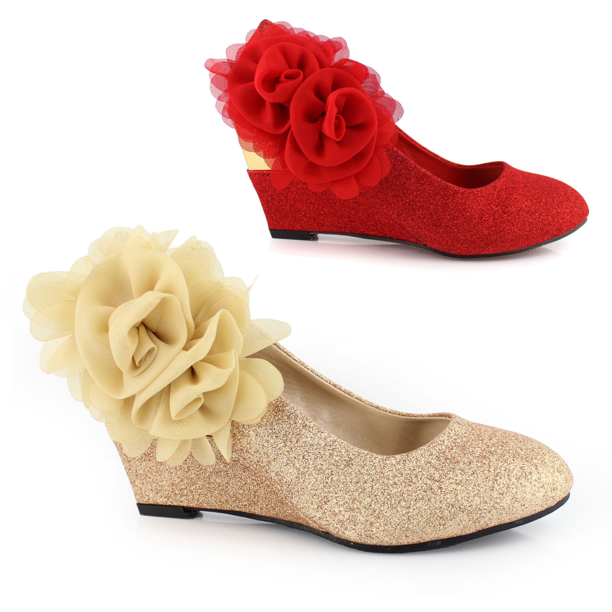 包邮 红色坡跟婚鞋 新娘伴娘鞋子 金色两朵花婚纱演出舞台旗袍鞋