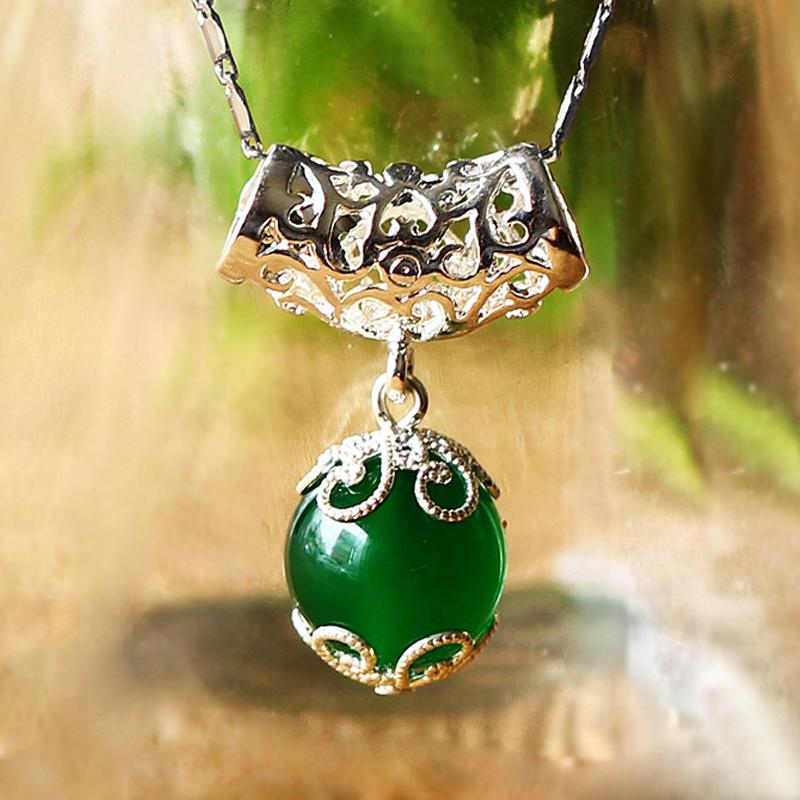 贺达 5A级纯天然玛瑙吊坠  配925纯银项链 女饰品