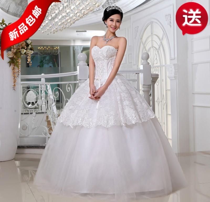 2013新款婚纱奢华齐地韩版公主婚纱新款婚纱送精美蕾丝手套包邮