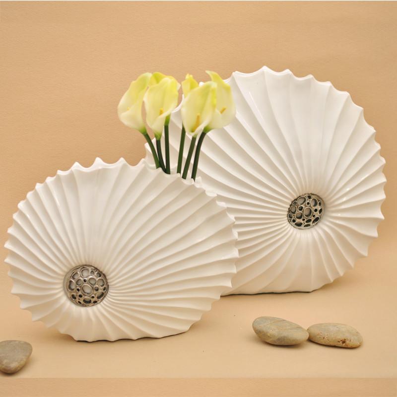 贝壳花瓶 白色 摆件现代简约 台面花瓶 树脂花瓶 家居装饰品花瓶