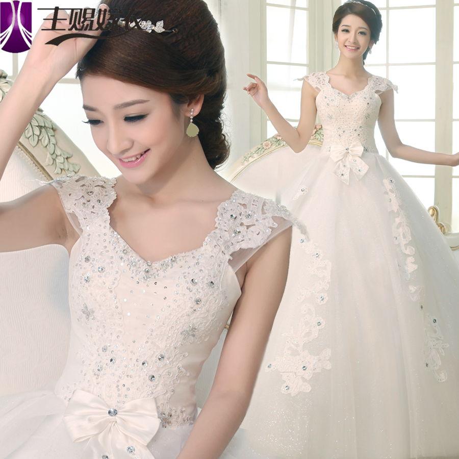 婚纱礼服 新款2013 韩版一字肩甜美公主吊带复古 V领性感酒店蓬蓬