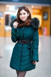 Beauty boutique Korean style lotus leaf chiffon sleeves oversized fur collar slim Down coat thick
