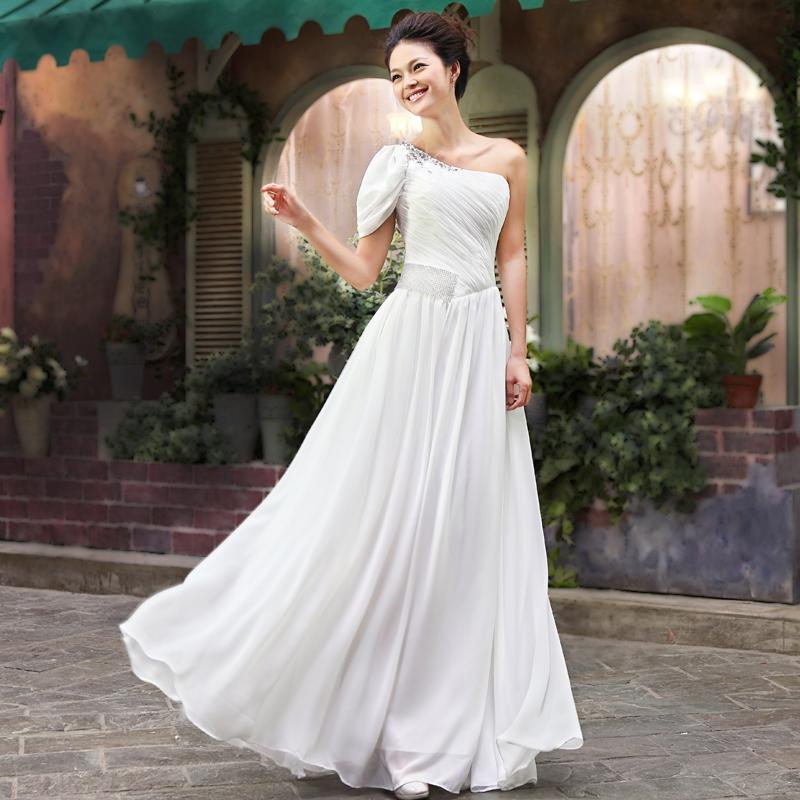 2013新款白色晚礼服长裙 新娘结婚婚纱小礼服裙时尚敬酒服伴娘服