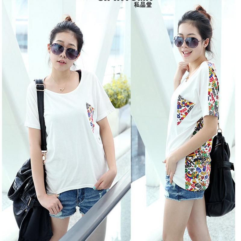 Футболка XL Женская жира мм летние дамы локтя рубашку t рубашка короткие свободные корейских студентов летняя одежда