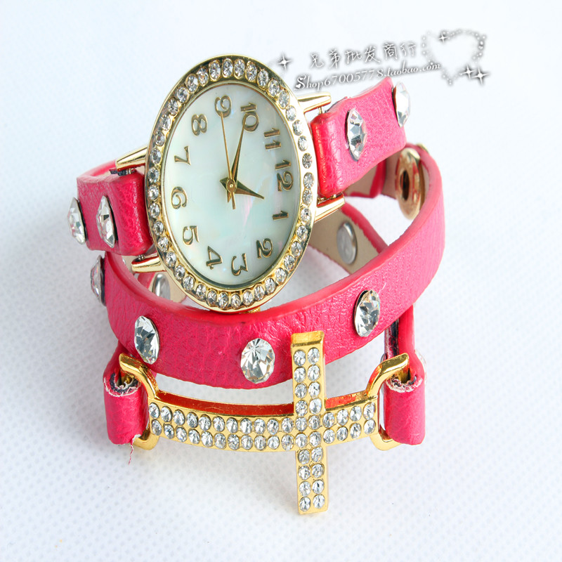 Korean fashion cute girl watches. Crucified long drill three times with watch