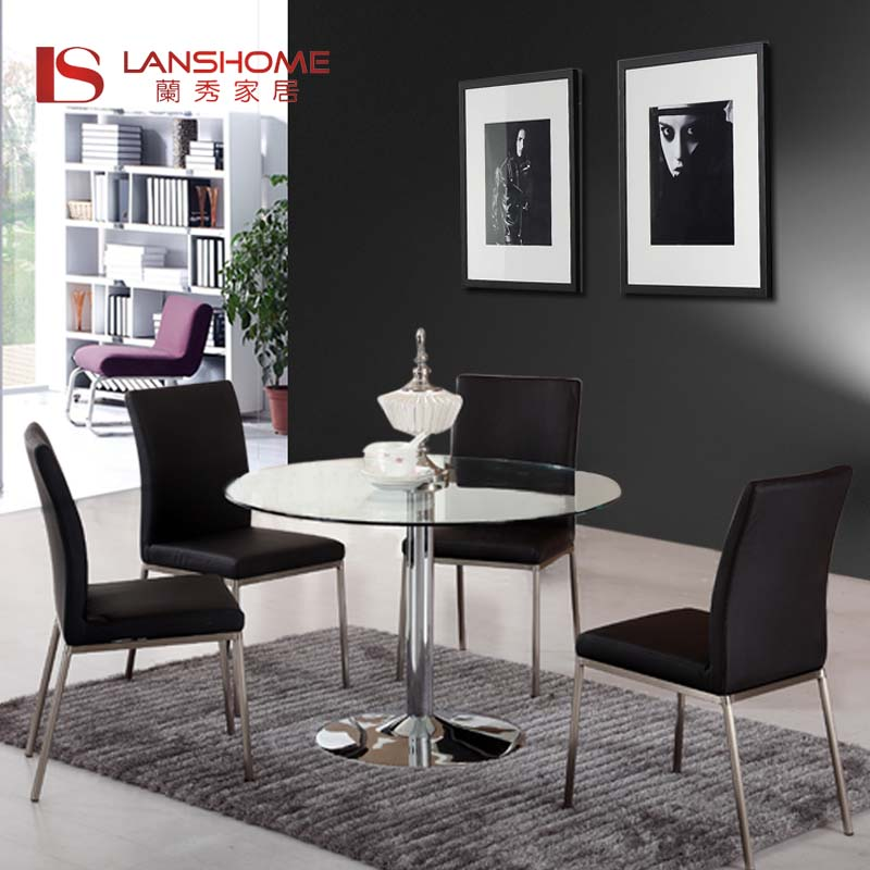 圆桌欧式桌餐桌洽谈桌小圆形现代简约结构广东玻璃图片