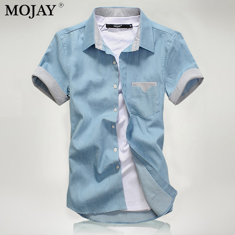 Mojay Slim Casual Short-Sleeved Cotton Men Solid Shirt