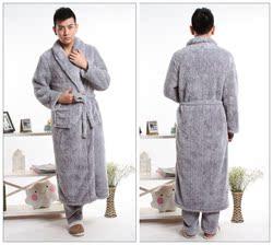 [年终钜惠] 加厚珊瑚绒秋冬男女睡袍睡裤两件套舒棉绒大码睡衣家居服订做长款