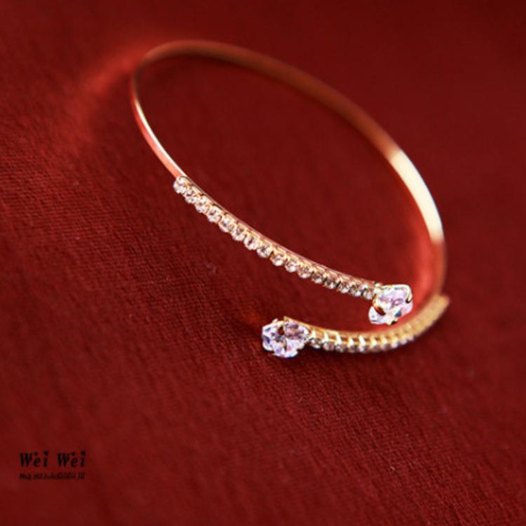 心心相印 爱心水晶镶钻开口手镯女 韩国韩版时尚饰品 小清新纤细