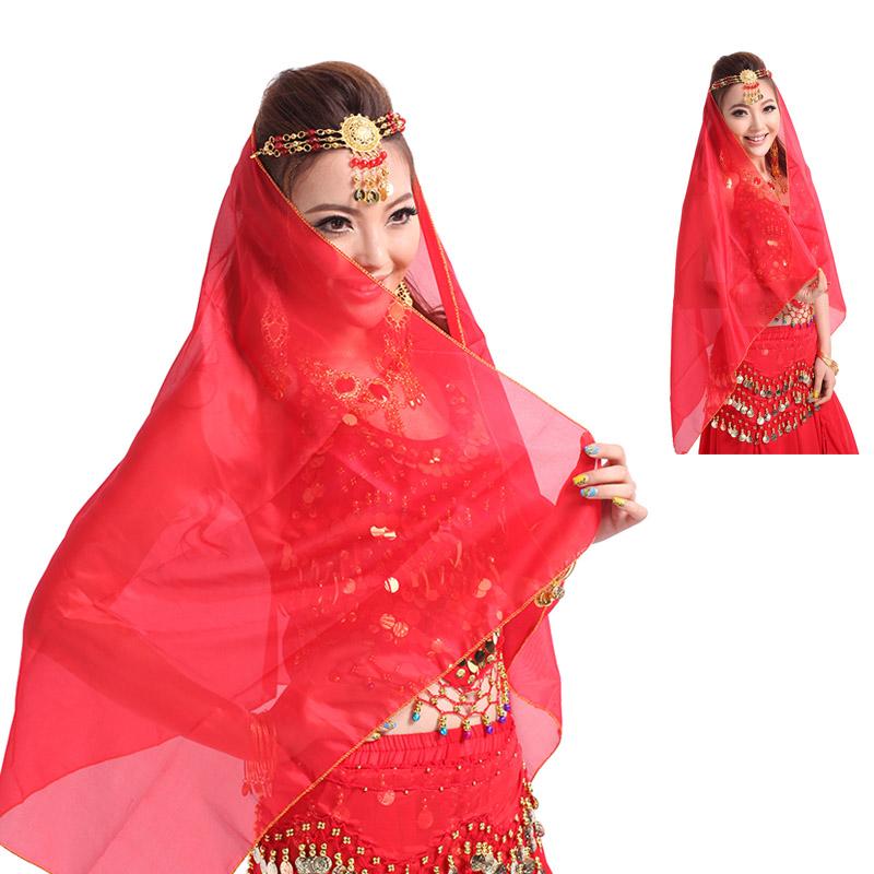 印度舞头饰 头纱肚皮舞真丝纱巾肚皮舞道具肚皮舞高档演出头纱p47