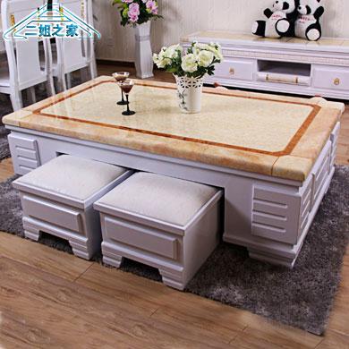 欧式大理石茶几台实木抽屉桌子软坐凳子