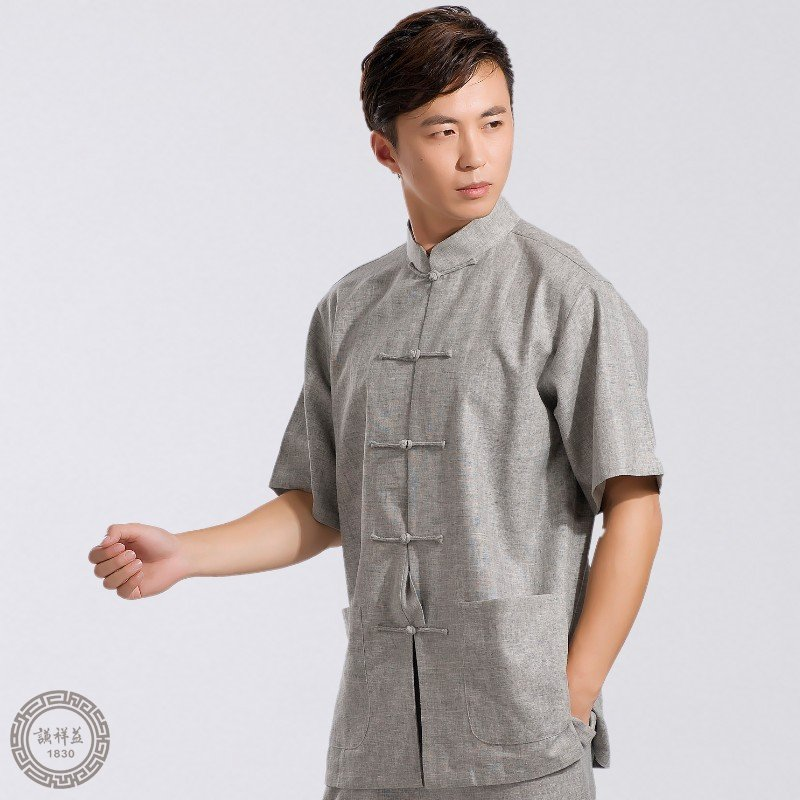 5折中式唐装男短袖夏装亚麻套装时尚爸爸中国风礼服休闲外套衬衫