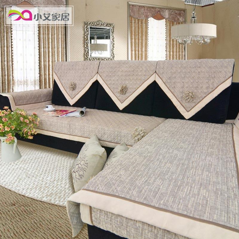 小艾 独秀 棉麻高档皮沙发垫沙发坐垫欧式奢华绗缝布艺防滑沙发套