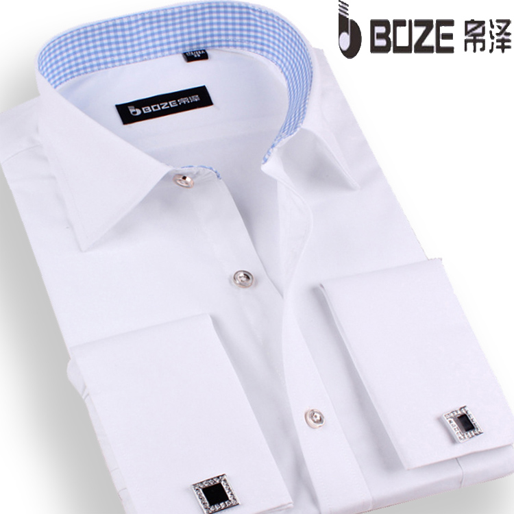 帛泽男士衬衫法式袖扣衬衫 男 长袖男装新郎结婚礼服商务白领衬衣