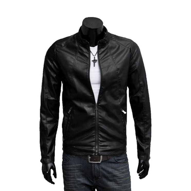 New spring 2013 Haining leather male Korean wave of slim leather men's jackets motorcycle Pu jacket