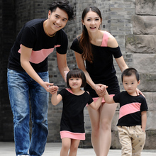 Bo Lu 2013 new summer Korean Family fitted short-sleeved t-shirt original classic black skirt Family Pack