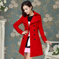Luxury red belt wool coat