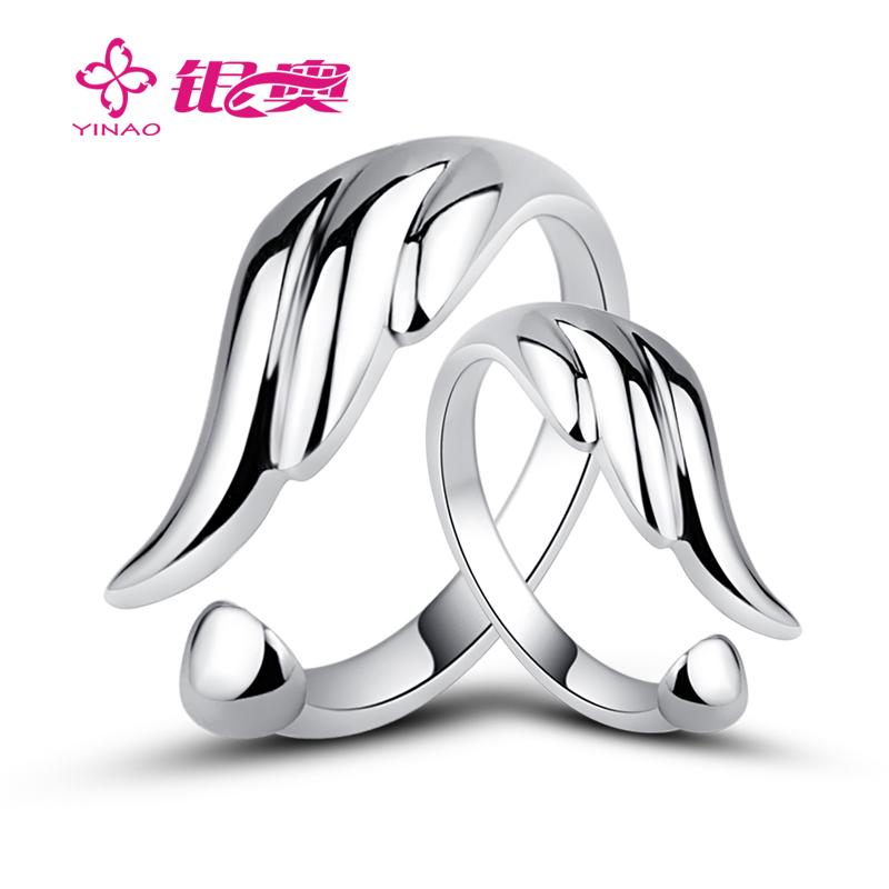 银奥 隐形翅膀 S925纯银 戒指 女 饰品 情侣对戒 对戒 银戒指