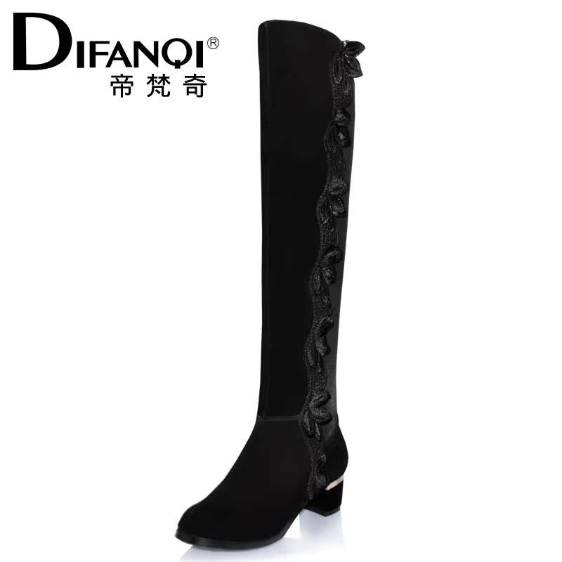 新款 长靴/帝梵奇2013秋冬新款长靴女显瘦弹力靴中跟粗跟牛皮过膝长靴靴子