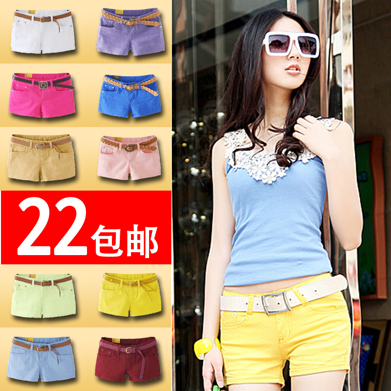 2013 new Korean women's skinny jeans plus size casual summer clothing female pants colored Candy-colored shorts hot pants