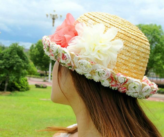 帽子女夏天韩版太阳帽户外遮阳帽亲子儿童帽子防晒帽草帽花朵女帽