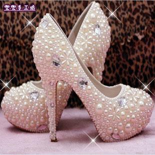新款春季新娘水晶鞋子水钻珍珠婚鞋伴娘结婚宴会高跟夜店公主