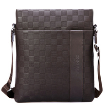 Zoro Paul authentic man real cowhide single shoulder slope across the grid bag the bag leisure small hang bag