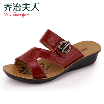Mrs. George summer new middle-aged mom leather slipper slope with female shoes women shoes, sandals and slippers Q1315