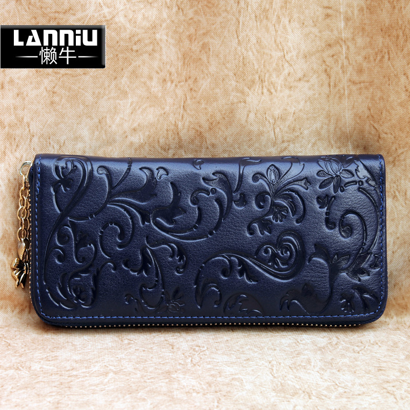 Lazy cow 2013 new Western leather purse women's zip around wallet embossed wax leather women wallet leather jacket
