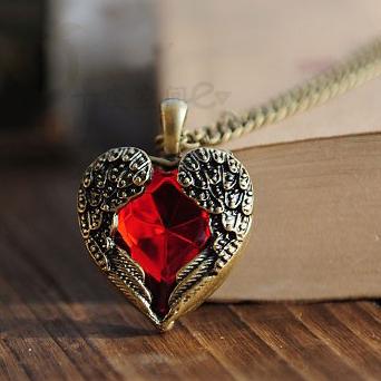 十度 外贸个性民族风饰品 天使之心宝石项链 爱心情侣表白礼物