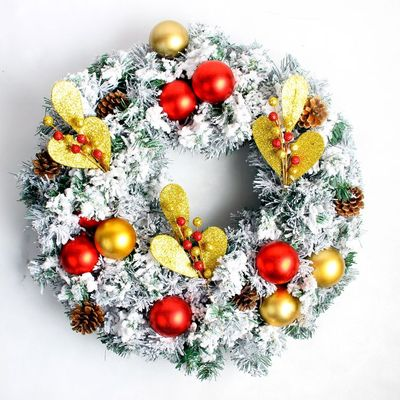 Merry Christmas Wreath 40cm Christmas window decoration props snow flocked Christmas tree garland wreaths