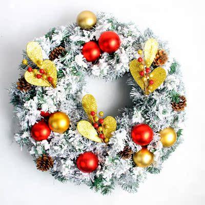 Merry Christmas Wreath 40cm Christmas window decoration props snow flocked Christmas tree garland wreaths