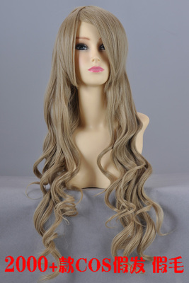 Flax golden brown 80cm long curly hair wholesale special-purpose high-temperature wire COSplay fake hair wig