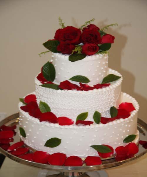 红色玫瑰蛋糕 三层加厚婚礼蛋糕庆典蛋糕北京大型蛋糕预订订蛋糕