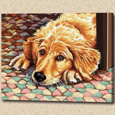 DIY animal dog painted living room study painting painted home decor boutique art digital painting rest of shipping