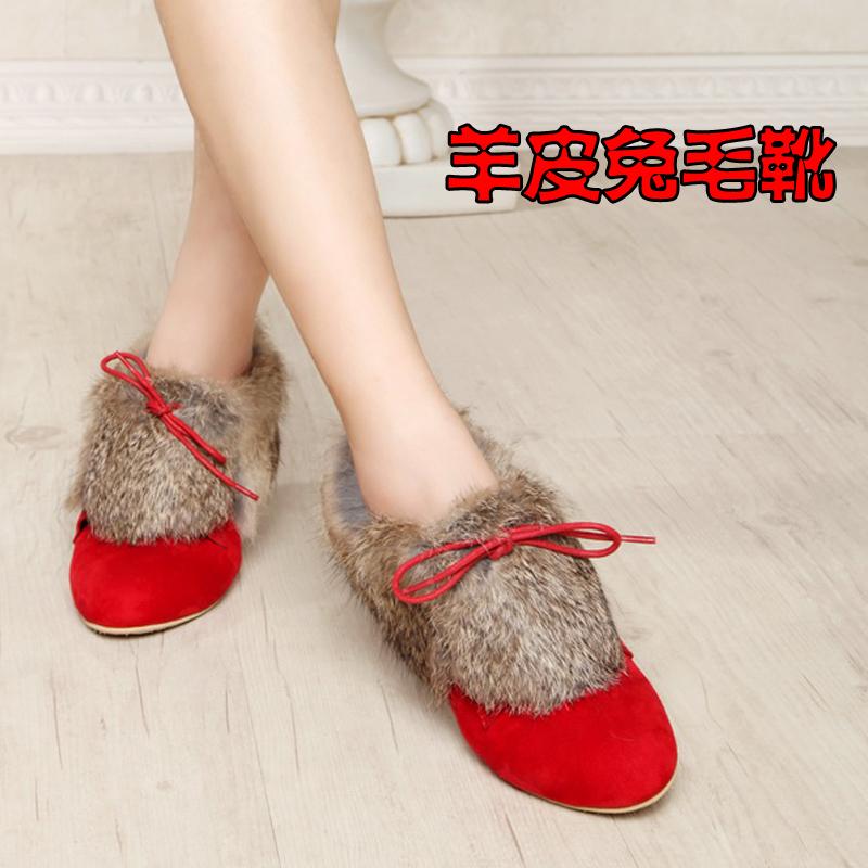 秋冬款2013新款低跟红色婚鞋平跟雪地靴兔毛新娘鞋靴子平底短靴