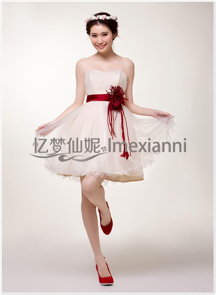 婚纱礼服2013新款短款孕妇礼服新娘结婚敬酒小礼服可定做