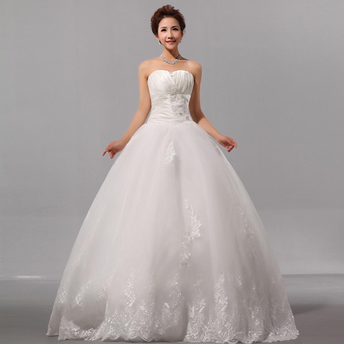 婚纱礼服 2013最新款 甜美 韩版 婚纱礼服花边婚纱 新娘显瘦婚纱