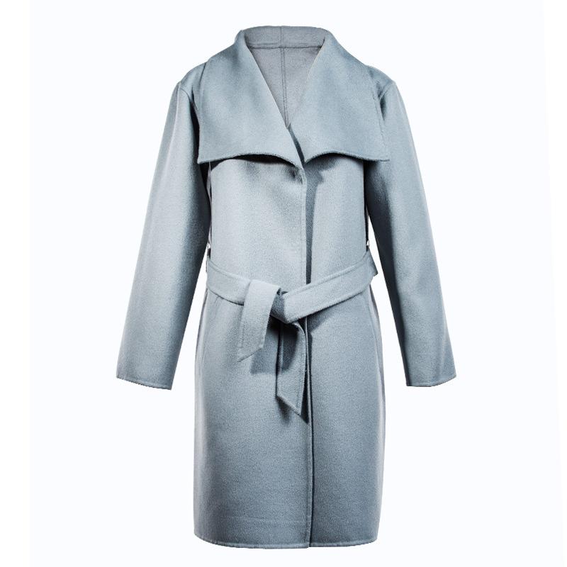 羊绒呢大衣外套女_max mara原单!高档秋冬女装新款浅蓝色双面羊绒毛呢大衣外套女