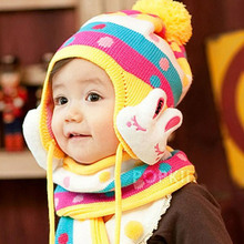Winter private baby infant children wool hat more cartoon ear muffs head warm scarf 3 to 6 months