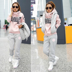 Korean style casual long pants, vest hoodie tracksuit sets thicker