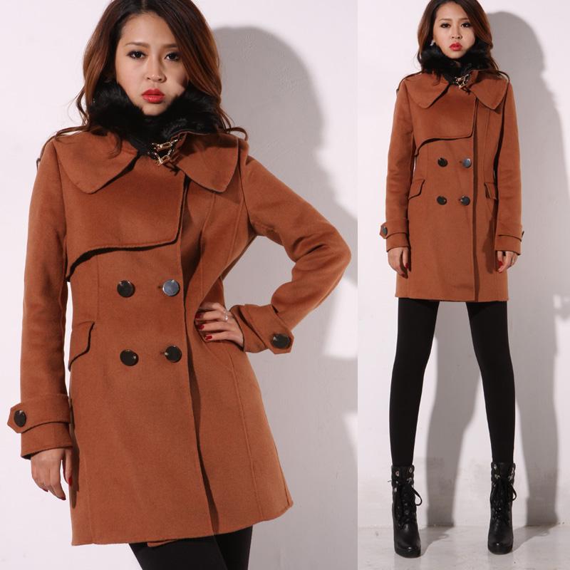 12新款冬季女韩版修身双排扣毛领手工缝双面羊绒大衣毛呢外套