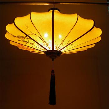 中式新古典宫灯布艺灯笼手绘吊灯客厅餐厅灯酒店会所茶楼工程灯具图片