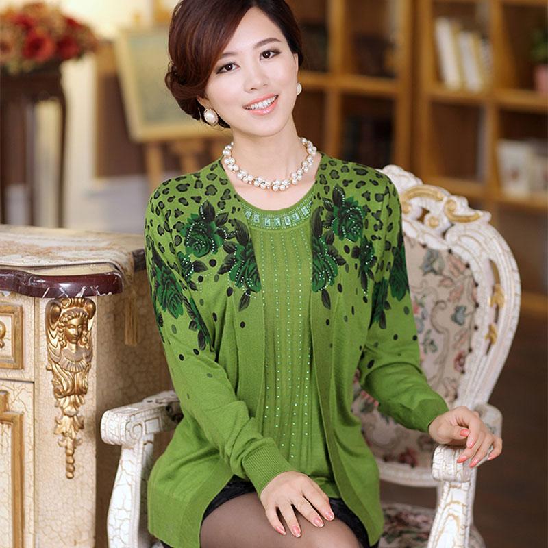 2013秋装新款中老年女装妈妈装针织衫女式宽松假两件套针织衫长袖