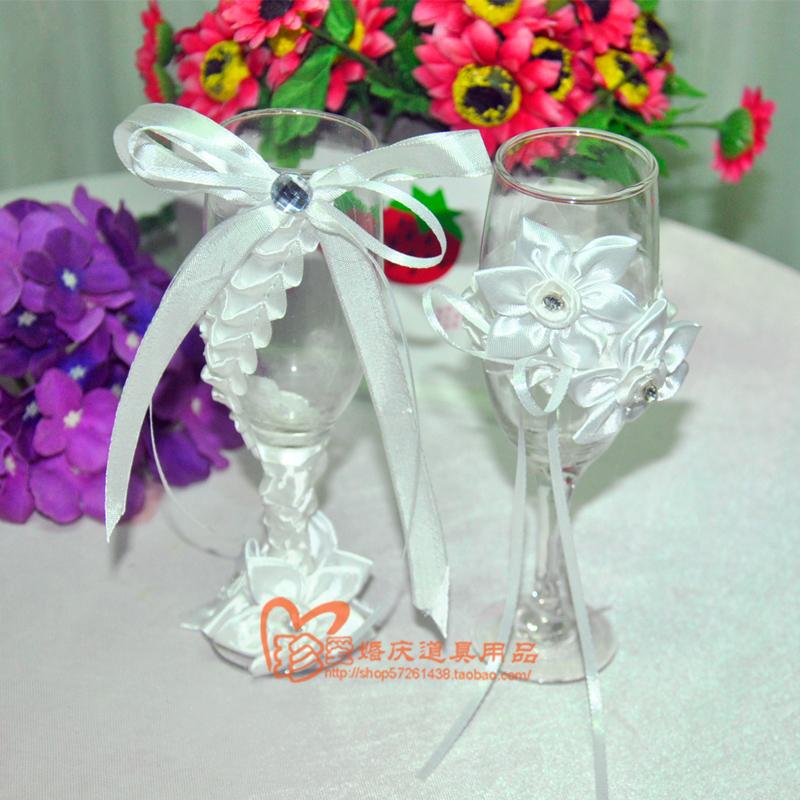 高档婚礼对杯 西式婚礼对杯 西式婚礼纯白色花朵香槟酒杯套装
