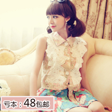 2013 spring women's lace big flower Floral POLO collar Slim vest waistcoat jacket short paragraph