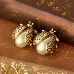 欧美饰品 复古 精致百搭珍珠小瓢虫耳钉 甲壳虫耳钉 耳饰