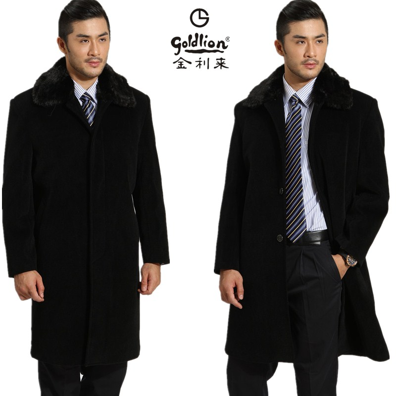 金利來男裝大衣 羊絨羊毛中長款大衣 加厚保暖毛領毛內膽毛呢外套圖片