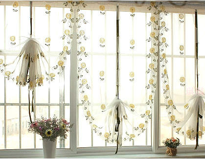Daisy garden living room window curtain curtain pulling high-grade balloon embroidery finished yarn / fabric, and bedroom curtains