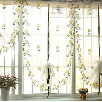 Daisy garden living room window curtain pulling curtain high-grade balloon embroidery finished curtains warm bedroom Rome curtain